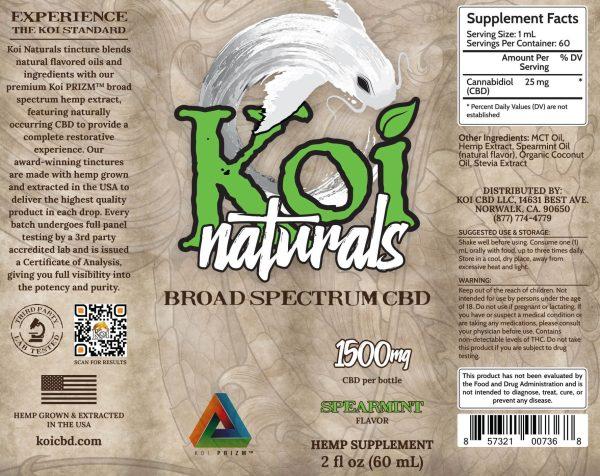 Koi Naturals Spearmint Broad Spectrum CBD Oil Tincture 60mL