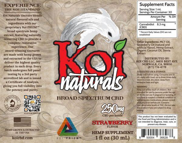 Koi Naturals Strawberry Broad Spectrum Hemp Extract CBD Oil Tincture 30mL