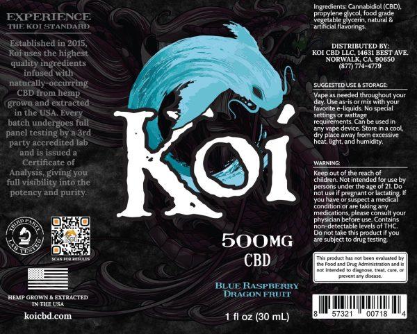Koi Blue Raspberry Dragon Fruit Hemp Extract CBD Vape Liquid 30mL