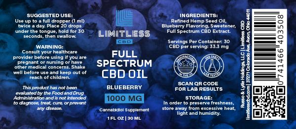 Limitless Blueberry Flavor 1000mg CBD Full Spectrum Oil Tincture 1oz