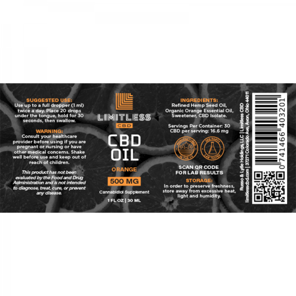 Limitless Orange CBD Isolate Oil Wellness Drops Tincture 1oz