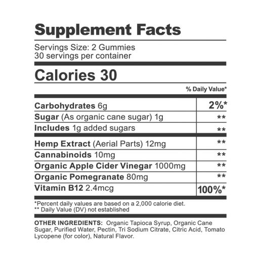 cbdfx apple cider vinegar gummies detox supplement facts