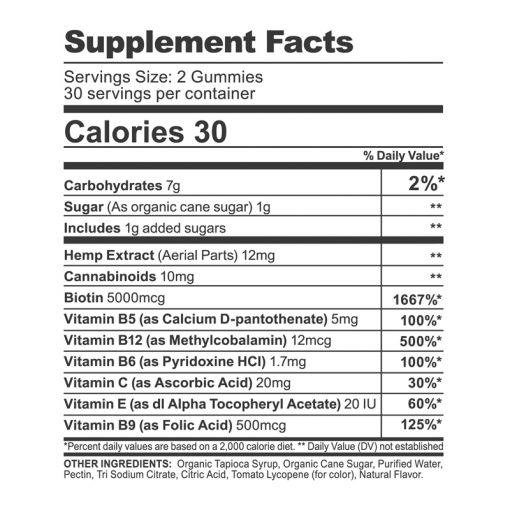 cbdfx biotin hair and nail support gummies supplement fact