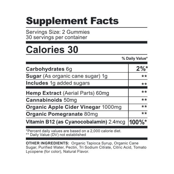 CBDFX Gummies Apple Cider Vinegar 1500MG Supplement Facts
