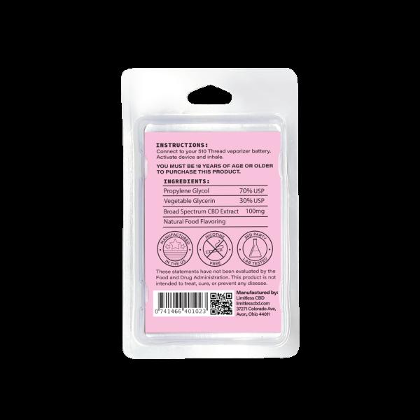 Limitless Broad Spectrum CBD Pink Lemonade Vape Cartridge