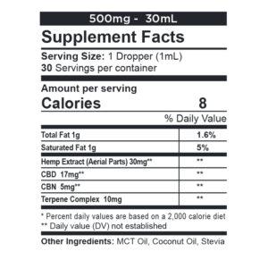 CBDFX Calming-tincture-500mg-supp-facts